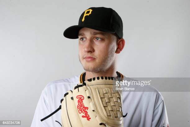 Dovydas Neverauskas of the Pittsburgh Pirates poses for a photograph during MLB spring training photo day on February 19, 2017 at Pirate City in...