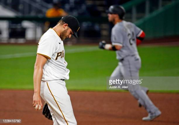 Dovydas Neverauskas of the Pittsburgh Pirates reacts after giving up a two run home run in the fifth inning against the Chicago White Sox at PNC Park...