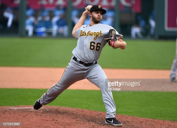 Dovydas Neverauskas of the Pittsburgh Pirates throws in the seventh inning against the Kansas City Royals at Kauffman Stadium on September 13, 2020...