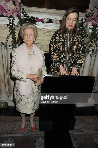 Dowager Duchess of Devonshire and Charlotte Mosley attend the Nancy Mitford 'Wigs on the Green' reissue party held by Catherine Ostler and the...