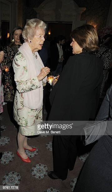 Dowager Duchess of Devonshire and guest attend the Nancy Mitford 'Wigs on the Green' reissue party held by Catherine Ostler and the Dowager Duchess...