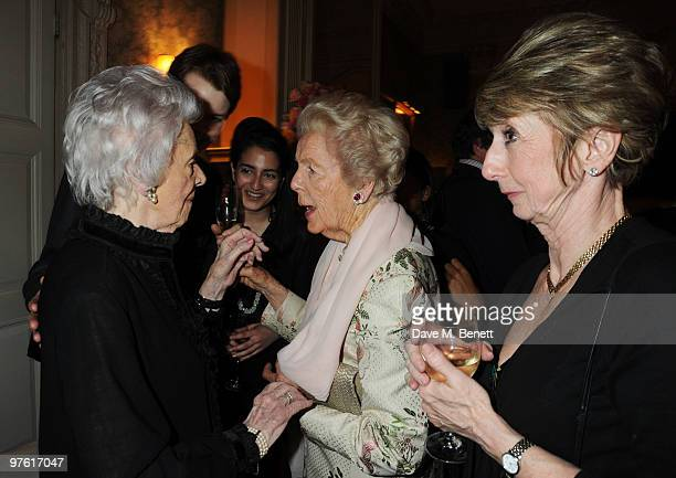 Dowager Duchess of Devonshire attends the Nancy Mitford 'Wigs on the Green' reissue party held by Catherine Ostler and the Dowager Duchess of...