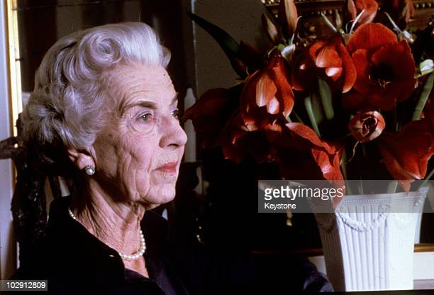Dowager Queen Ingrid of Denmark pictured beside a vase of flowers on her 70th birthday Denmark 28th March 1980