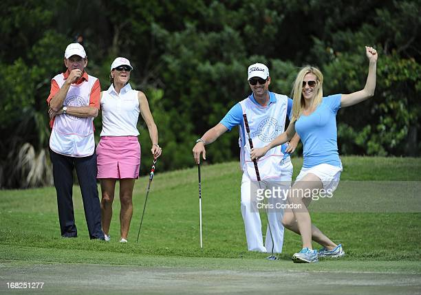 Dowd Simpson reacts after almost chipping in on the second hole during PGA TOUR Wives Classic golf tournament held on Dye's Valley course before THE...