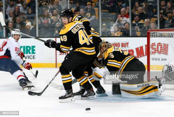 Down and out Boston Bruins goalie Anton Khudobin makes a left pad save during a game between the Boston Bruins and the Washington Capitals on...