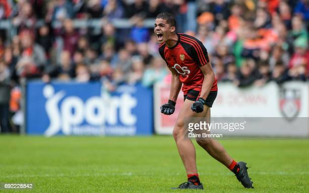 Down Ireland 4 June 2017 Finn McElroy of Down celebrates at the final whistle after the Ulster GAA Football Minor Championship QuarterFinal match...