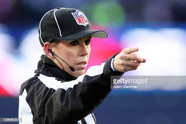 Down Judge Sarah Thomas looks on in the AFC Divisional Playoff Game between the New England Patriots and the Los Angeles Chargers at Gillette Stadium...