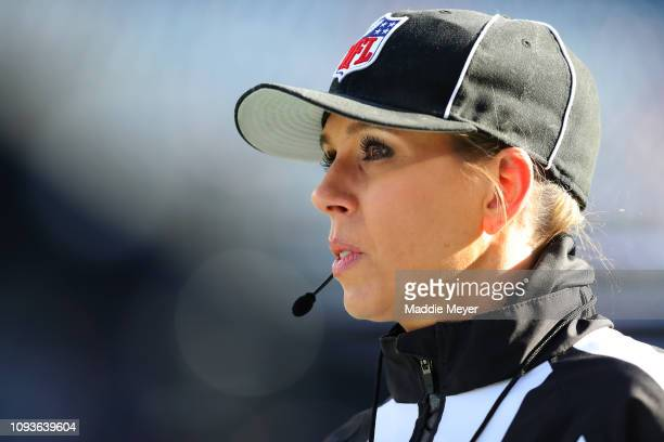 Down Judge Sarah Thomas looks on prior to the AFC Divisional Playoff Game between the Los Angeles Chargers and the New England Patriots at Gillette...