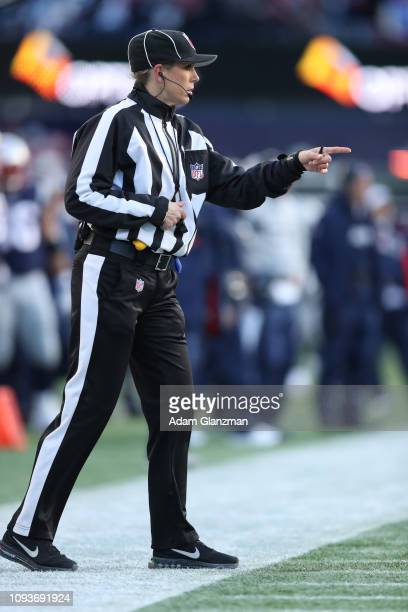 Down Judge Sarah Thomas reacts in the AFC Divisional Playoff Game between the New England Patriots and the Los Angeles Chargers at Gillette Stadium...