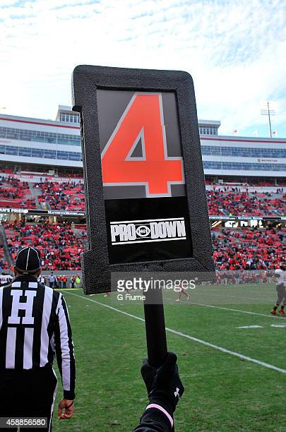 Down marker shows fourth down during the game between the North Carolina State Wolfpack and the Maryland Terrapins at Carter-Finley Stadium on...