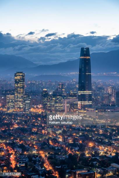 down town santiago at dawn, cityscape before sunrise. - santiago chile stock pictures, royalty-free photos & images