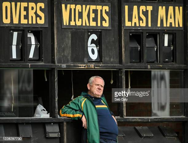 Down , United Kingdom - 1 September 2020; Scoreboard attendant Keith Malone during the 2020 Test Triangle Inter-Provincial Series match between...