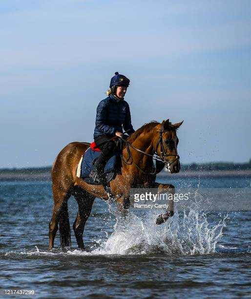 Down United Kingdom 3 June 2020 Leanne Breen on La Novia during a morning ride on Greencastle Beach in Greencastle Co Down Horse racing is due to...