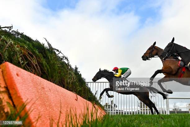Down , United Kingdom - 31 October 2020; Sizing Pottsie, with Robbie Power up, jump the second last during the Lough Construction Ltd. Steeplechase...
