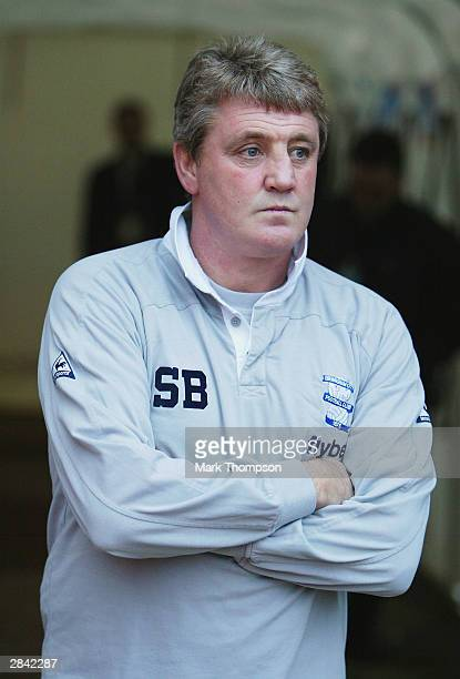 A downcast Steve Bruce looks on during the FA Cup Third Round match between Birmingham City and Blackburn Rovers at St Andrews on January 3 2004 in...