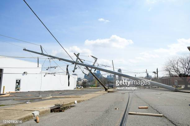 Downed power lines damaged by the storm are seen in the North Nashville neighborhood following devastating tornadoes on March 03 2020 in Nashville...