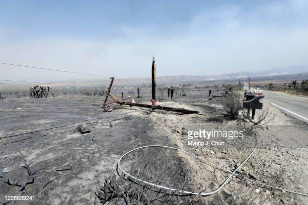 Downed power lines on Juniper Hills Road as the Bobcat Fire burned through the neighborhood Photographed on Sunday Sept 20 2020
