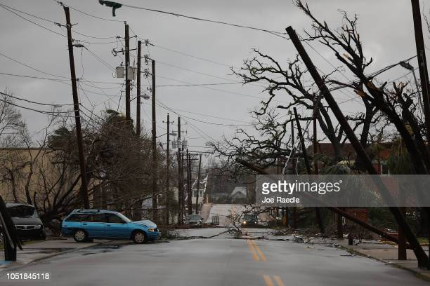 Downed powerlines are seen after hurricane Michael passed through the downtown area on October 10 2018 in Panama City Florida The hurricane hit the...