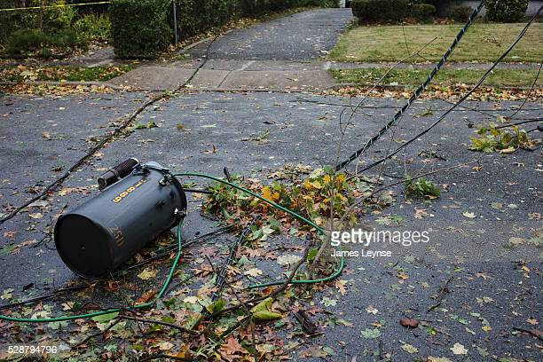 Downed trees and power lines in Leonia New Jersey on the day after hurricane Sandy