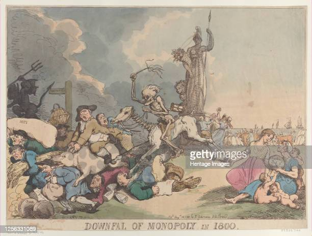 Downfall of Monopoly in 1800, August 14, 1800. Artist Thomas Rowlandson.