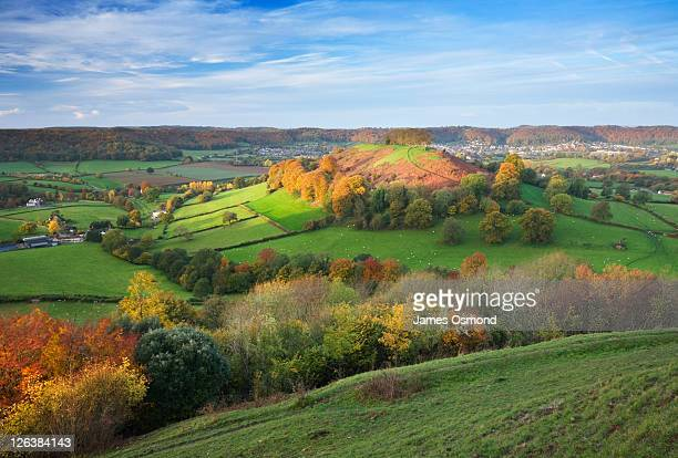 Downham Hill from Uley Bury in Autumn. The Cotswolds. Gloucestershire. England. UK.