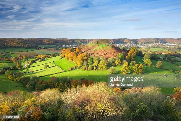 downham hill from uley bury in autumn. the cotswolds. gloucestershire. england. uk. - newpremiumuk stock pictures, royalty-free photos & images