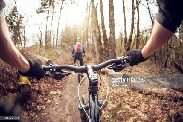 downhill mountain bike ride - bicycle trail outdoor sports stock photos and pictures