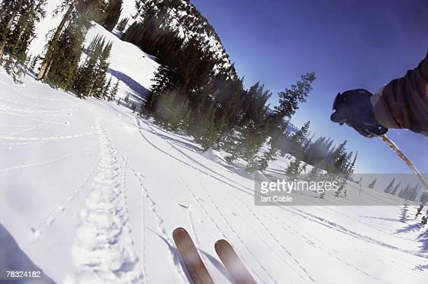 POV of downhill skier