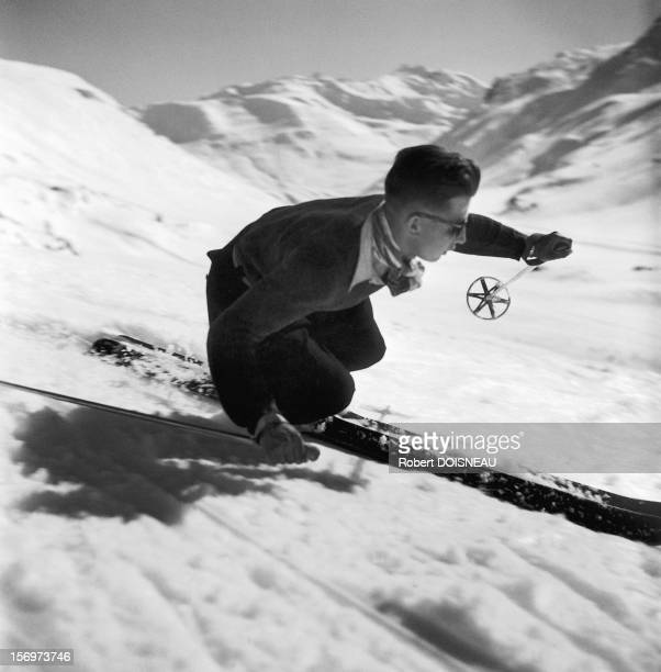 Downhill with skis 1946 in Tyrol Austria
