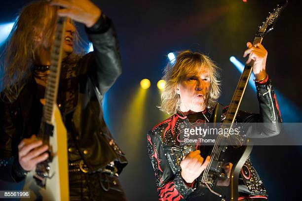 Downing and Glenn Tipton of Judas Priest perform on stage as part of the Priest Feast Tour at the LG Arena on February 14, 2009 in Birmingham.