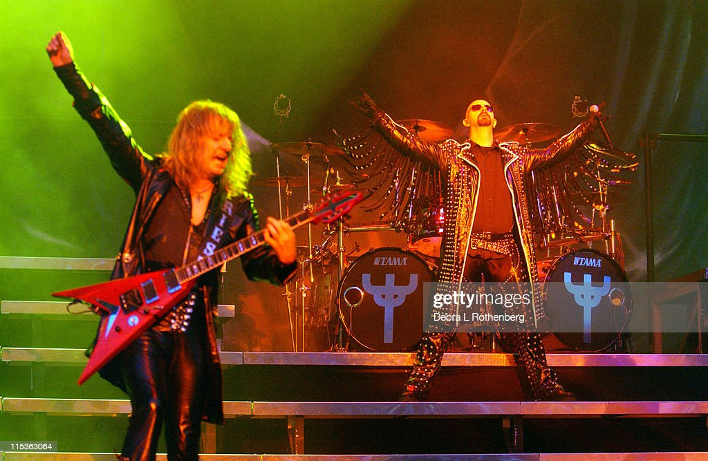 KK Downing and Rob Halford of Judas Priest during Ozzfest - July 14, 2004 at Jones Beach in Wantaugh, New York, United States.