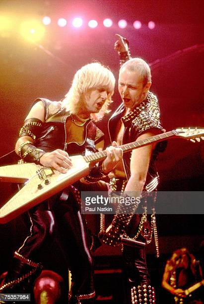 KK Downing and Rob Halford of Judas Priest on 1/20/83 in Milwaukee WI