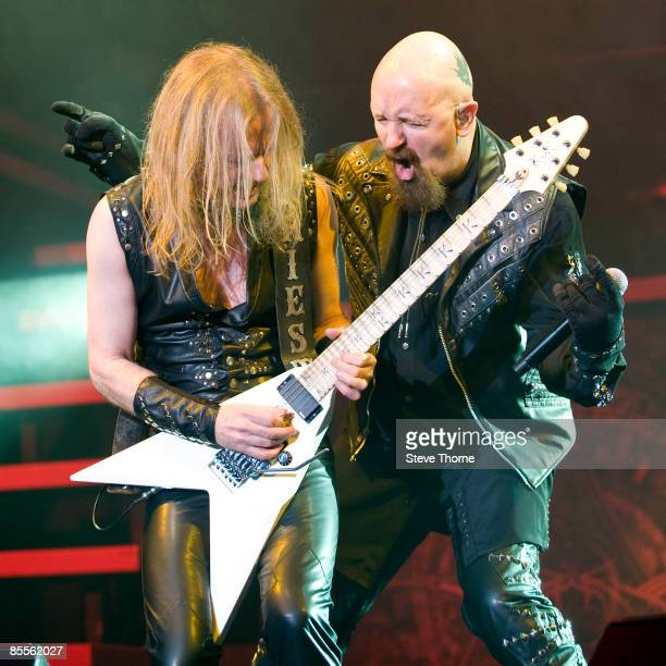 Downing and Rob Halford of Judas Priest perform on stage as part of the Priest Feast Tour at the LG Arena on February 14, 2009 in Birmingham.