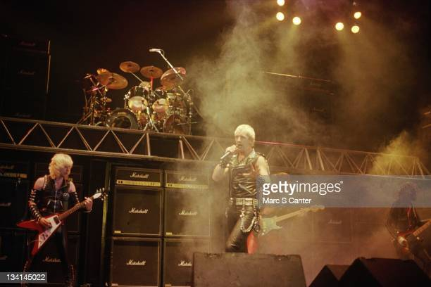 KK Downing Dave Holland Rob Halford Glenn Tipton and Ian Hill of the rock band 'Judas Priest' perform onstage at the Long Beach Arena on October 22...