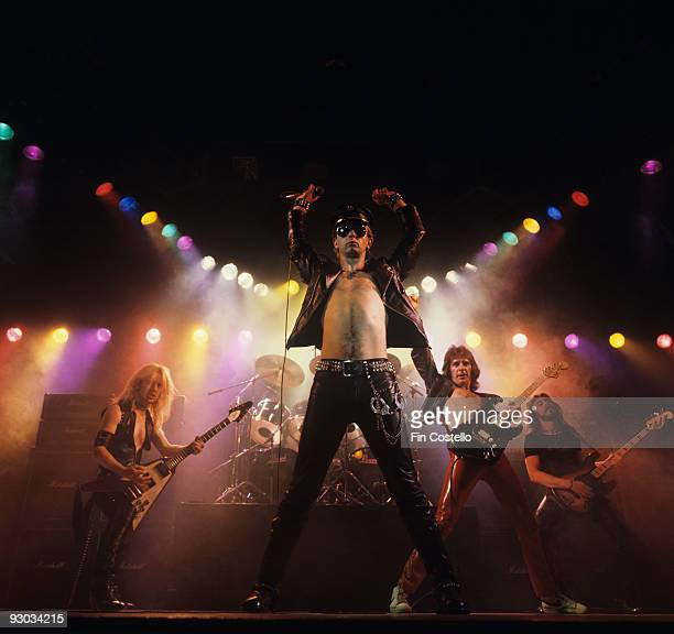 KK Downing Rob Halford Glenn Tipton and Ian Hill of Judas Priest perform on stage Unleashed In The East album cover session taken in July 1979