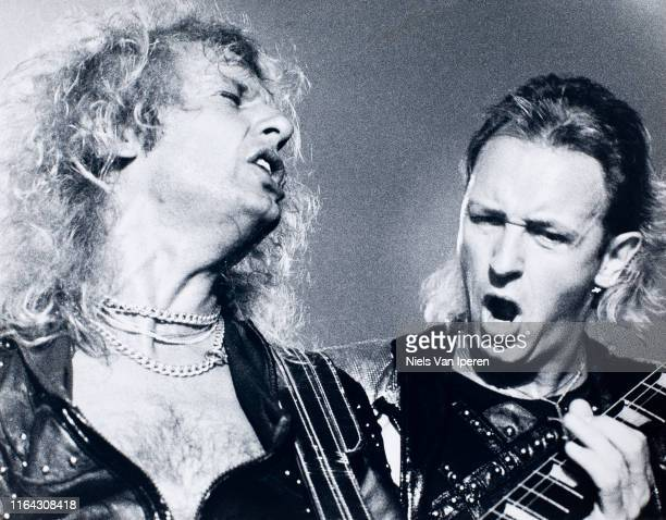 Downing, Rob Halford of Judas Priest, IJsselhal, Zwolle, Netherlands, 14th May 1988.