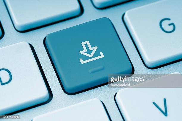 Download button on a computer keyboard