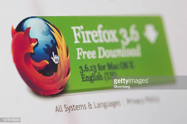 A download link for the Mozilla Corp's Firefox web browser is displayed on a computer monitor in London UK on Wednesday Jan 5 2011 Mozilla Corp's...