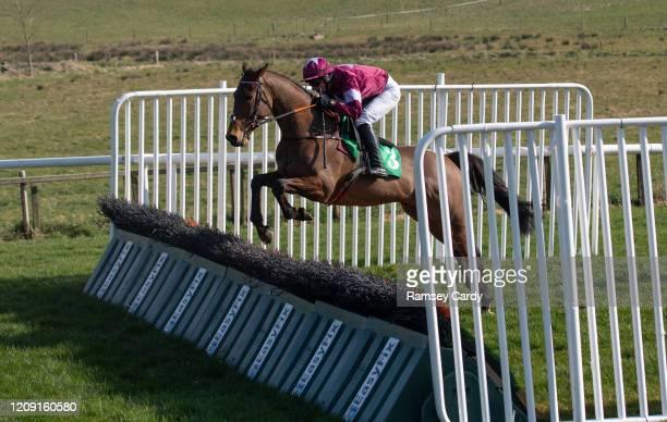 Downpatrick United Kingdom 22 March 2020 Accidental Rebel with Hugh Morgan up during the Racing TV Handicap Hurdle at Downpatrick Racecourse in...