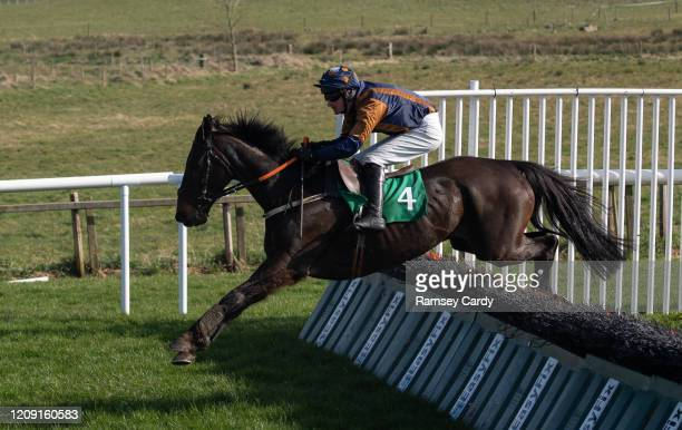 Downpatrick United Kingdom 22 March 2020 Cappucino Man with Barry Browne up during the Racing TV Handicap Hurdle at Downpatrick Racecourse in...