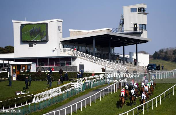 Downpatrick United Kingdom 22 March 2020 Runners and riders during the Randox Ulster National Handicap Steeplechase at Downpatrick Racecourse in...