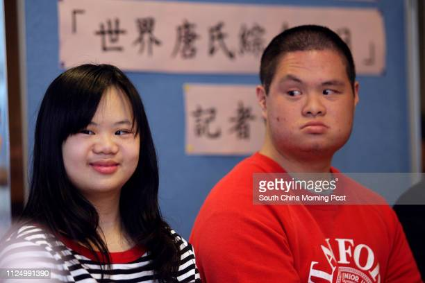 Down's Syndrome patients Lam Wingshan with Wu Hoiyu at the Media briefing by Down's Syndrome Association on employment and social difficulties facing...