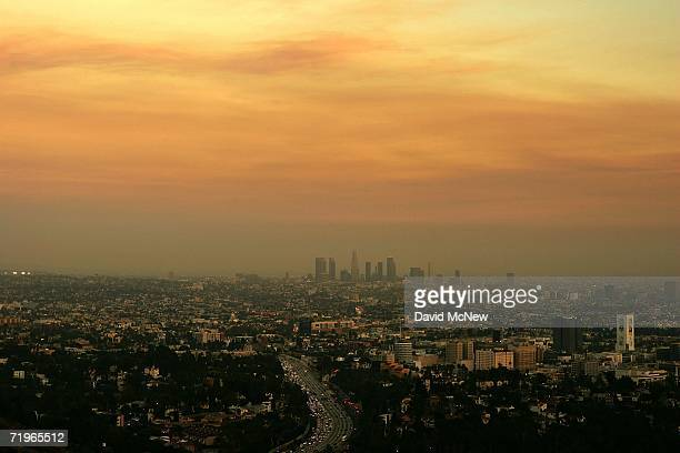 Downtown air quality is choked with the smoke of wildfires on September 21 2006 in Los Angeles California Firefighters are trying to gain as much...