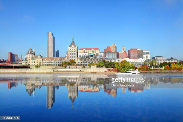 downtown albany skyline along the hudson river - hudson river stock pictures, royalty-free photos & images