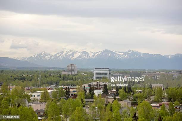 Le centre-ville d'Anchorage en Alaska-Unis au printemps, vue sur la ville