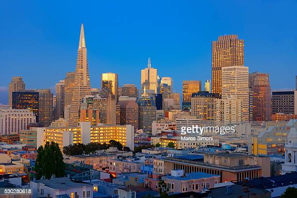 Downtown and TransAmerica Building, San Francisco, California, United States of America, North America