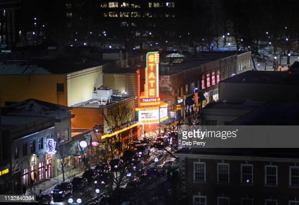 downtown ann arbor, michigan in the winter. - ann arbor stock pictures, royalty-free photos & images