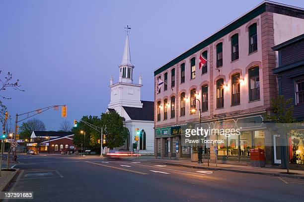 downtown antigonish at dusk, nova scotia - small town stock pictures, royalty-free photos & images