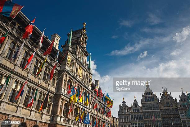 downtown antwerp, belgium - town hall stock pictures, royalty-free photos & images