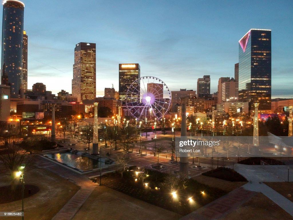 Downtown Atlanta Georgia Lights 5 : Stock Photo